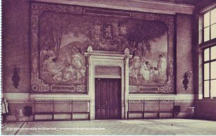 Toile marouflée dans le préau de l'ancienne école n°11 (Privat-Livemont), carte postale, ACS | Gemaroufleerde doek in de binnenplaats van de oude school nr 11 (Privat-Livemont), postkaart, GAS
