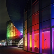 Multi-colored exterior wall washer lights. Courtesy led24.de