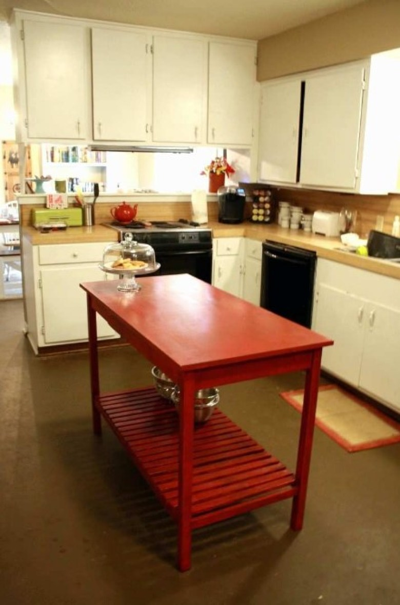 Red Table for Kitchen Island