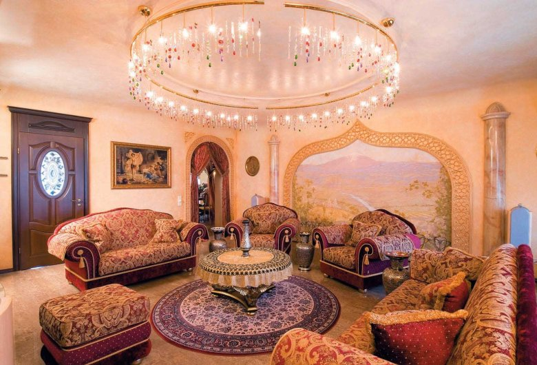 Ethnic Decoration and Furniture in Luxurious Indian Living Room