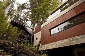 Elegant-Wooden-Wall-at-Modern-House-Design-that-Interact-Directly-with-Trees-Corallo-House-in-Guatemala
