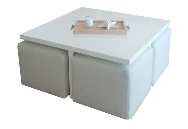 la table basse avec pouf pour un style