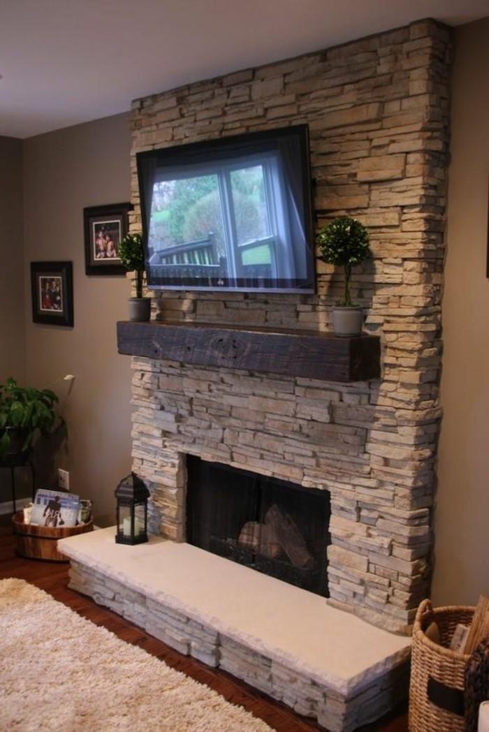 Stone Corner Electric Fireplace Tv Above