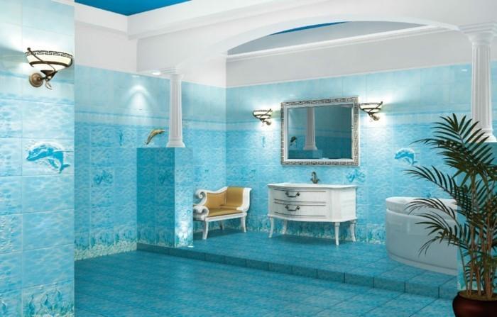 Salle De Bain Bleu Turquoise Et Marron   Unixpaint