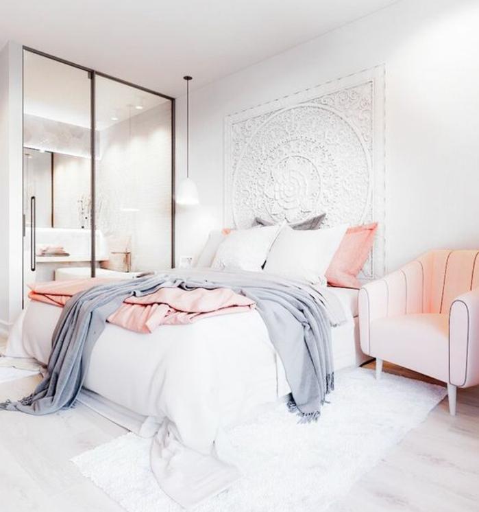 Chambre blanc gris rose pale unixpaint - Chambre grise et rose poudre ...