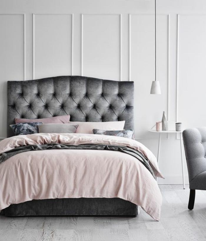 Peinture Chambre Adulte Lit Gris Linge De Lit Gris Rose Noir Fauteuil Gris  Peinture Mur Blanc Decoration %C3%A9l%C3%A9gante