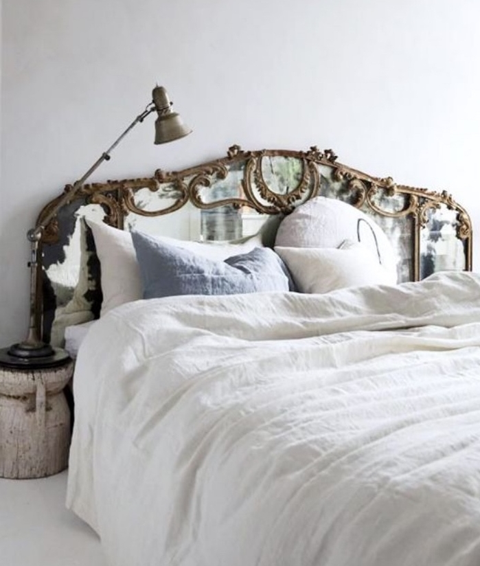 faire une tete de lit soi meme grand miroir baroque pose derriere le lit