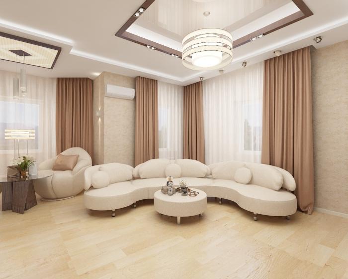 Deco Salon Blanc Et Beige Moderne   Unixpaint