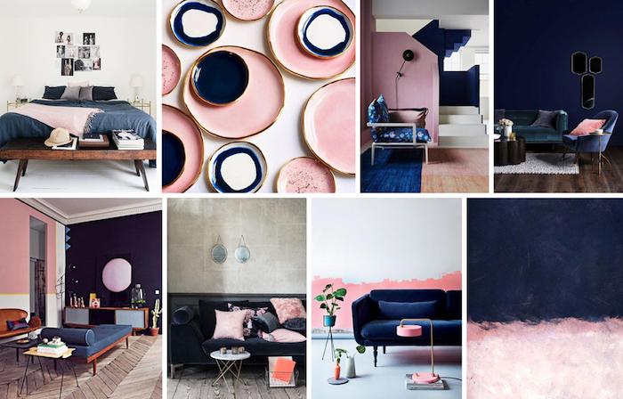 Salon Bleu Marine Et Rose | Unixpaint