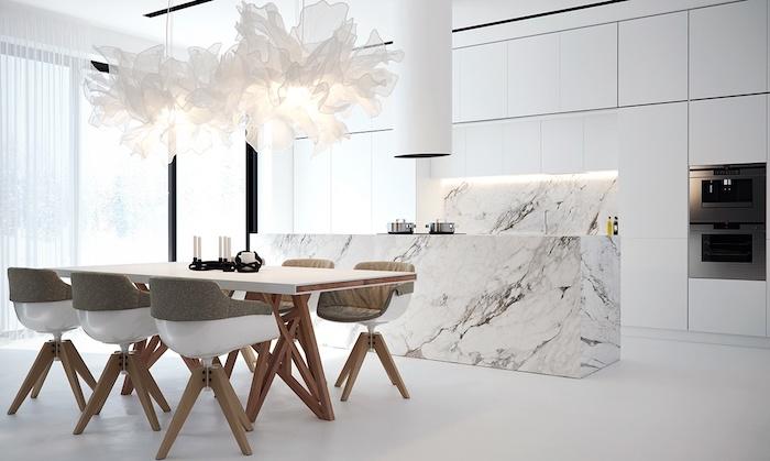 comment amenager une cuisine moderne blanche 120 exemples deco chic et un peu trop styles