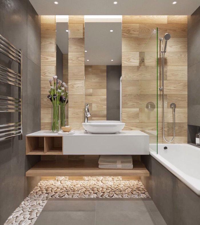 salle de bain moderne grise avec carrelage mural carrelage mur salle de bain imitation bois