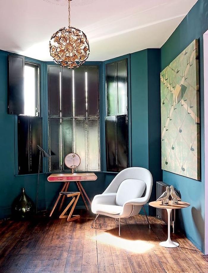 1001 Idees Deco Salon Bleu Canard Paon Petrole Du Goudron
