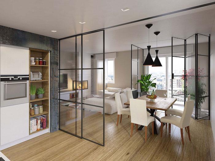 1001 Idees Separation Cuisine Salon Coulissez Une Porte Ouverte