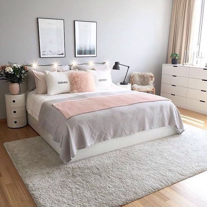 chambre rose et blanc