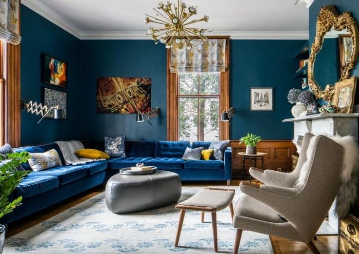 Deco Salon Canape Bleu Petrole | Unixpaint