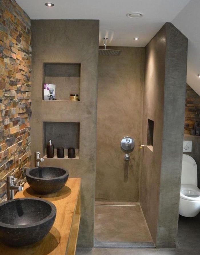 salle de bain en beton cire brut de