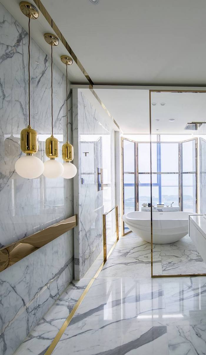 1001 Idees Pour Amenager Une Salle De Bain En Marbre Blanc