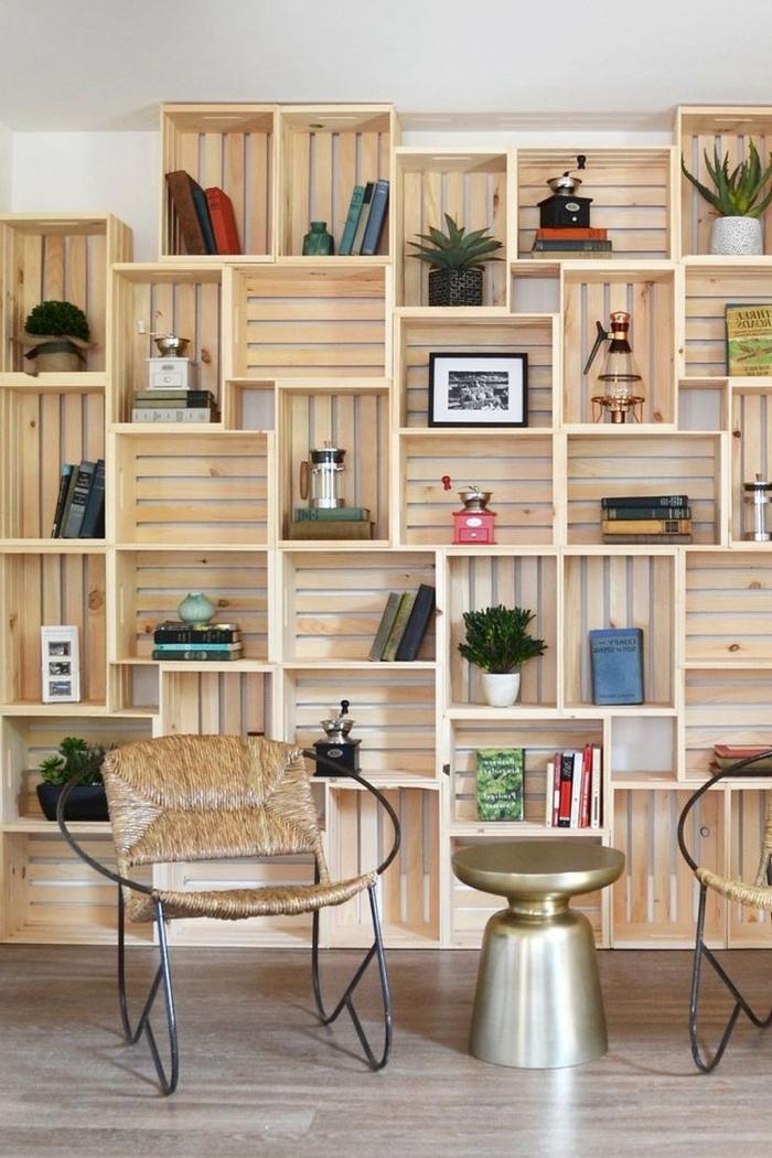 1001 Modeles De Bibliotheque En Palette Ou Caisses De Bois