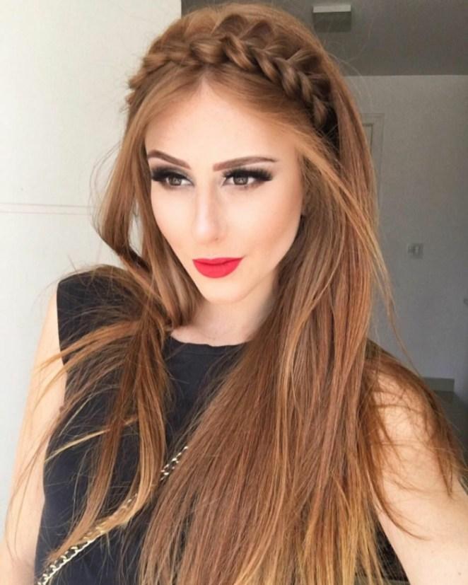 long hair, half-free hair, a braid like crown, simple hairstyles and subtle make-up