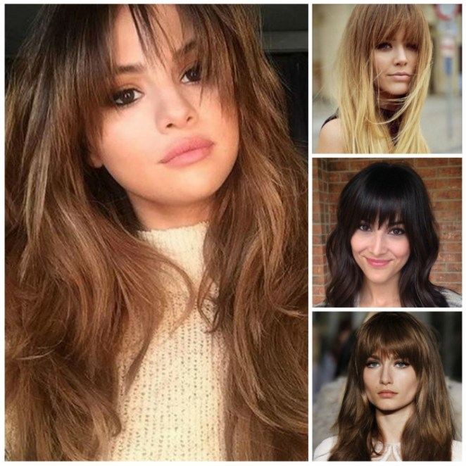 a collage of four hairstyles, simple hairstyles, long hair in different colors