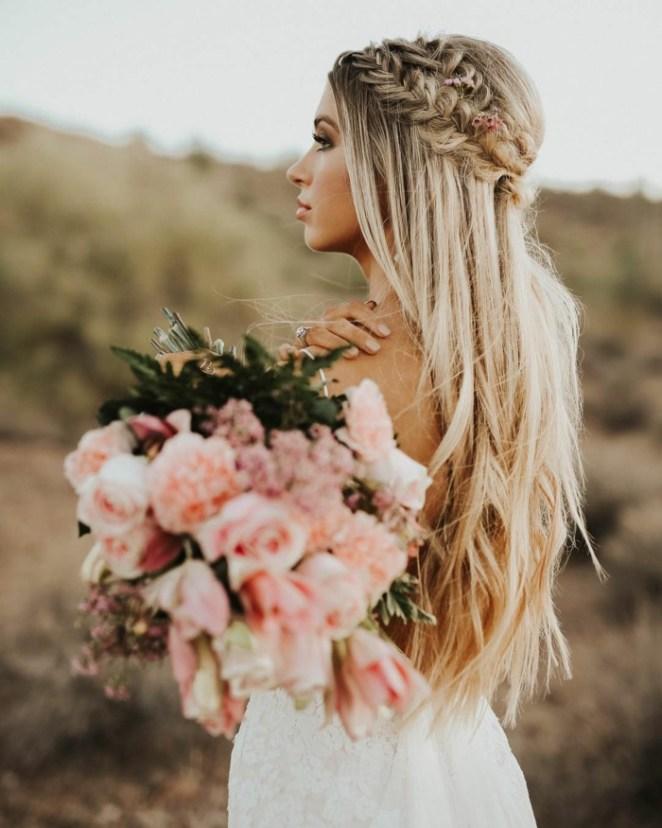 simple updos long hair, herringbone braid like wreath, semi-free hairstyle
