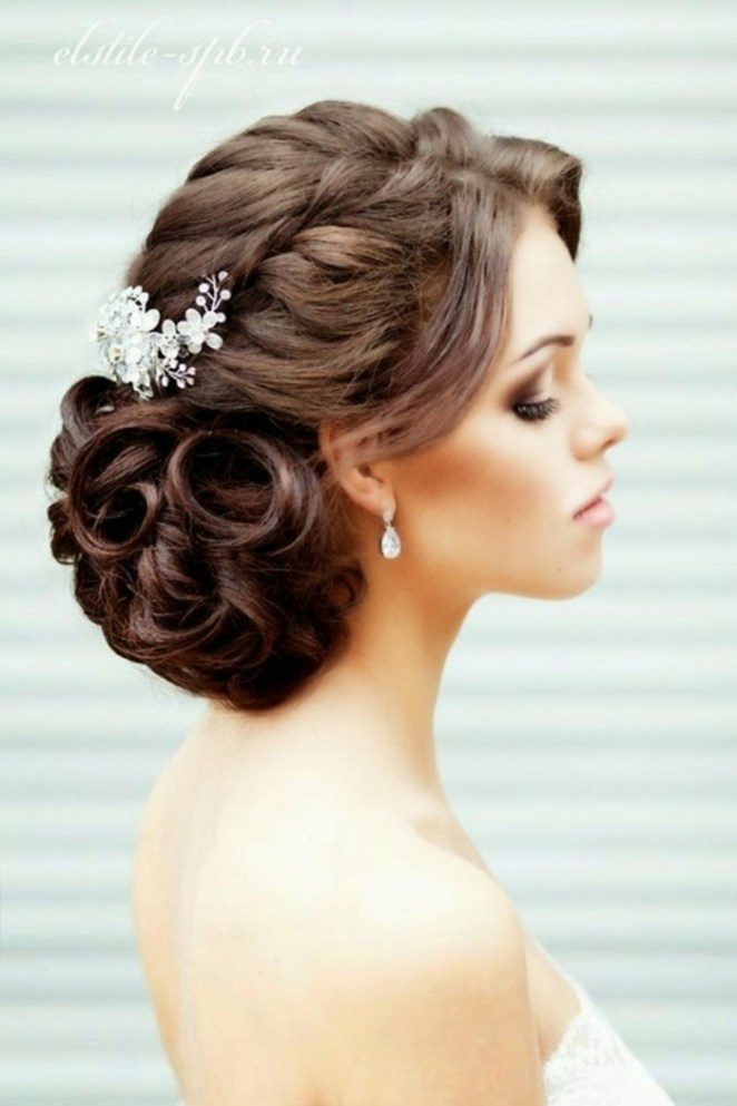 simple updos for long hair, white hair accessories, small earrings, bridal hairstyle