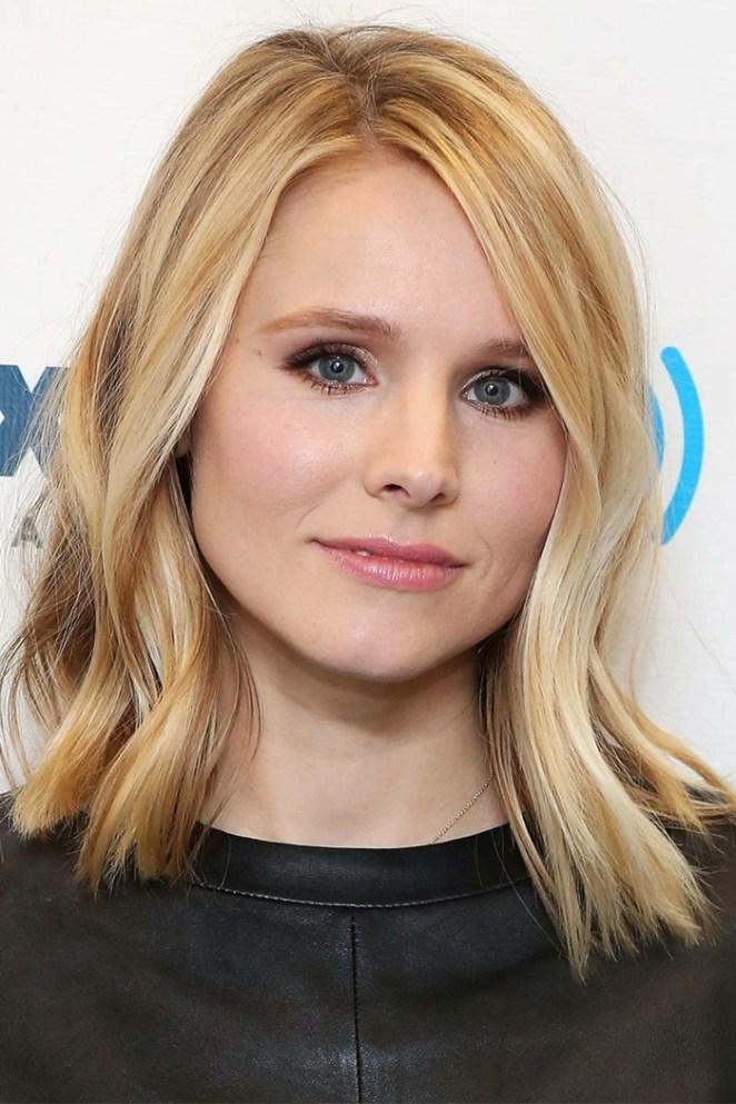 Braids hairstyles for medium length hair, blonde hair with curls, a black blouse