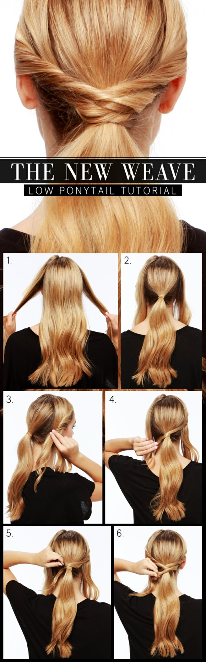 beautiful hairstyles for long hair, a ponytail in six steps of blonde hair