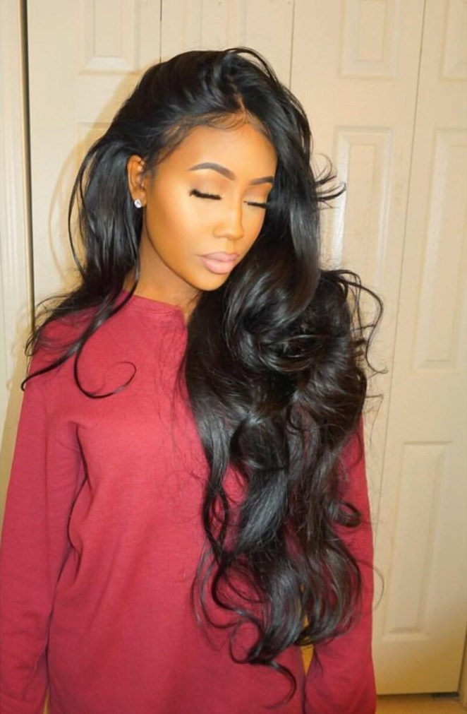 simple hairstyle, red sweater, long black hair with curls, nice embellishment