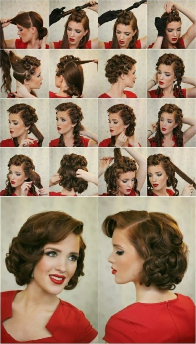 Rockabilly hairstyle, red dress, black hair, step by step instructions for beautiful hairstyles for long hair