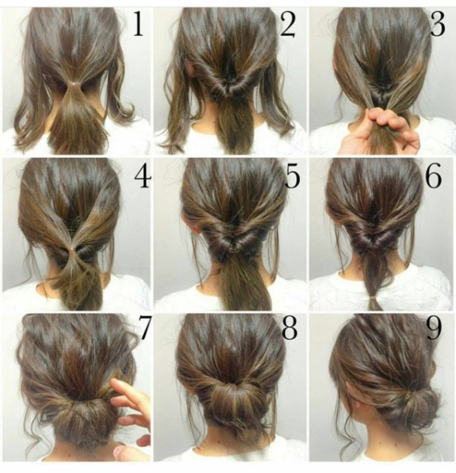 Long hairstyles, brown hair hairstyles with a loose stick and updo, in nine steps