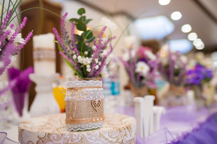 Tischdeko Runde Tische Lavendel Rosen Rosa Flieder Bastelspass