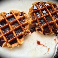 Churros Waffles with Cinnamon Sugar and Hot Chocolate Sauce