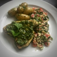 Herb Crusted Grilled Tuna Steak with Tabouleh and Baby Potatoes