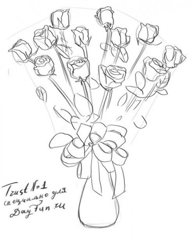 How to draw a bouquet of roses step by step 4