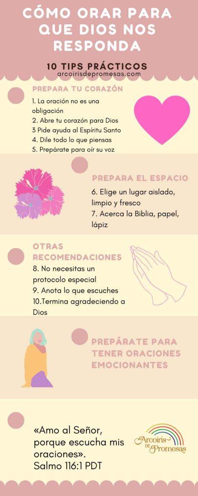 como orar para que dios nos responda infografía oraciones cristianas