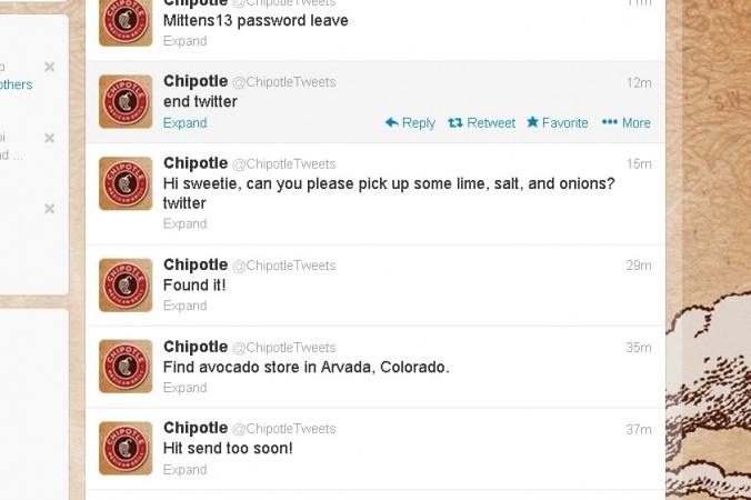Chipotle fake Twitter hack