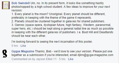 A recent encounter on the Gygax Magazine Facebook page.