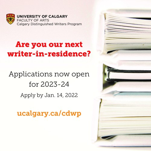 An ad for the Writer-in-Residence program at Calgary Distinguished Writers Program
