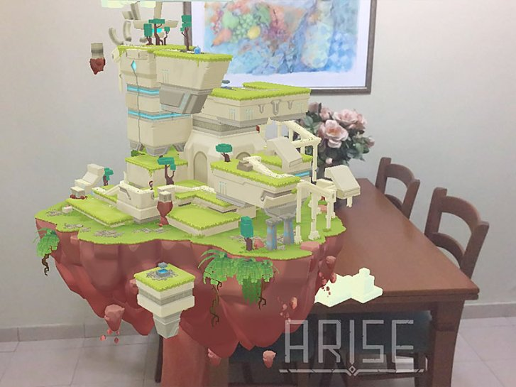 ARise AR game, floating island in the living room