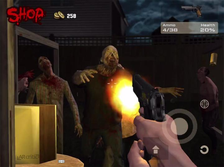 Shooting zombies with a pistol in ARZombi