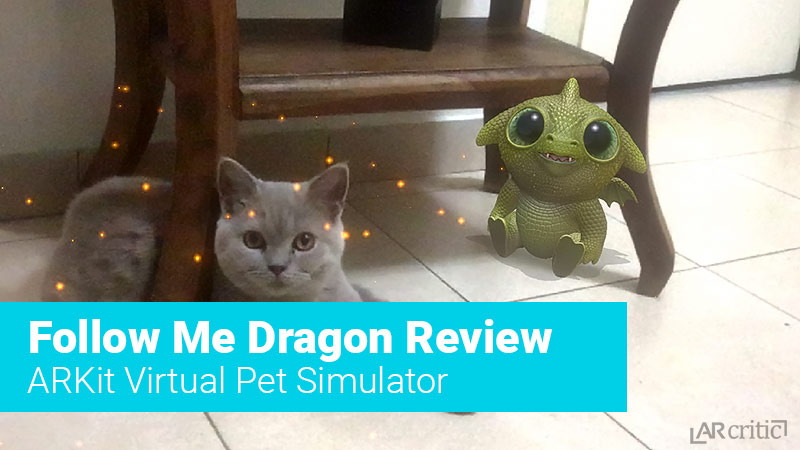 Virtual dragon pet with a real cat side by side