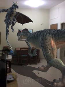 Two dinosaurs in augmented reality, Vixeo app screenshot