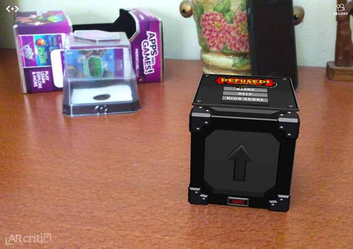 Defused! AR game Merge Cube lying on the table