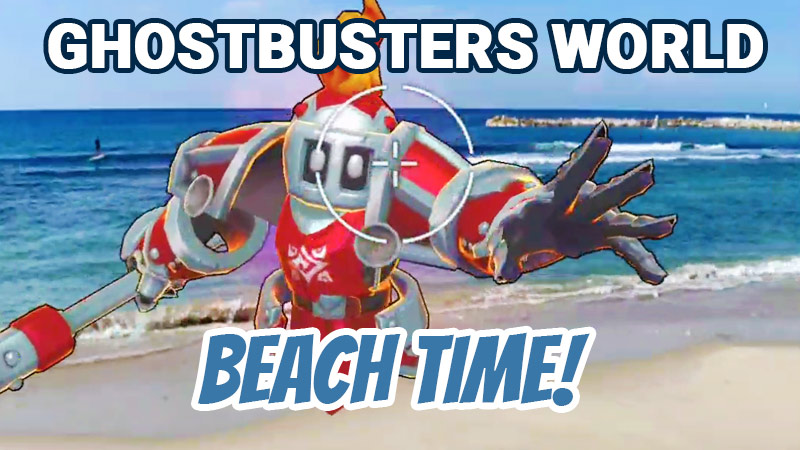 Playing Ghostbusters World at the beach
