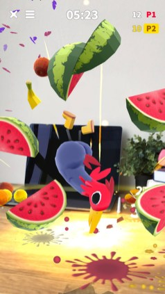 watermelon 3d models in the air in augmented reality