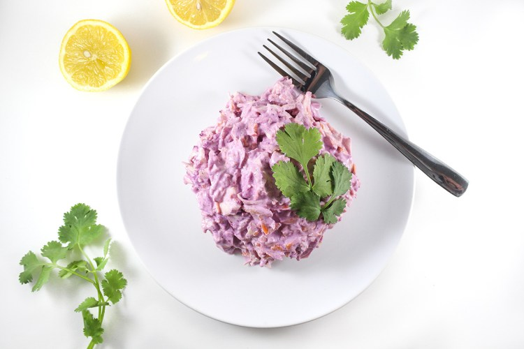 Arctic blueberry coleslaw, made with Arctic Flavors 100% natural wild blueberry powder. Healthy, delicious and beautiful!