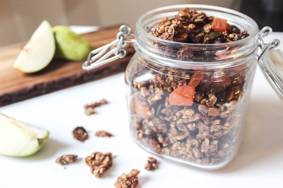Crunchy, homemade, healthy, vegan and gluten-free granola made with Arctic Flavors 100% natural wild blueberry powder, nuts, dried fruits and healthy grains like oats and buckwheat