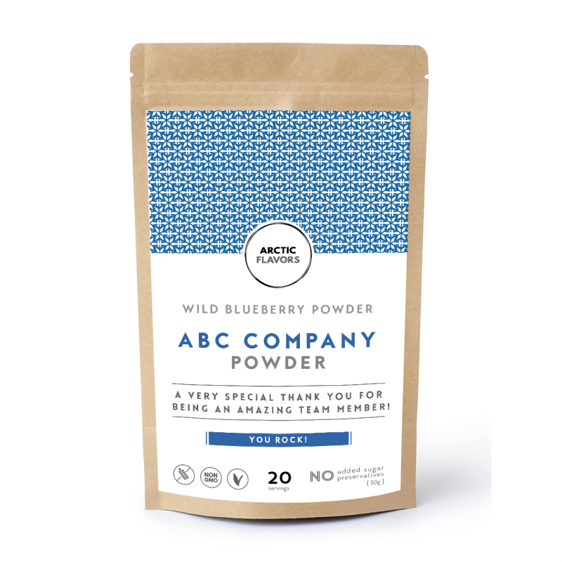 An example of the blueberry powder customized gift label. Arctic Flavors gives you the opportunity to have a customized berry powder bag.