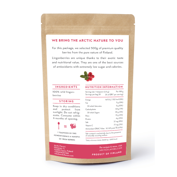 Arctic Flavors premium quality wild lingonberry powder from the pure forests of Finland.